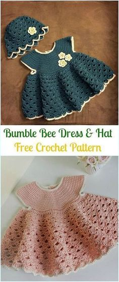Crochet Girls Dress Free Patterns & Instructions CrochetBumble Bee Dress & Hat FreePattern- Girls Free Patterns The post Crochet Girls Dress Free Patterns & Instructions appeared first on Do It Yourself Diyjewel.Crochet Girls Dress Free Patterns & I Crochet Spring Dresses, Crochet Dress Girl, Crochet Baby Dress Pattern, Baby Girl Crochet, Crochet For Kids, Baby Knitting Patterns, Crochet Patterns, Free Knitting, Baby Patterns