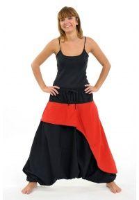 Sarouel hiver Wavy noir et rouge - K1451 - 100% pur coton épais du Népal.