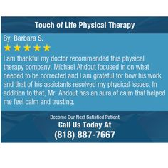 I am thankful my doctor recommended this physical therapy company. Michael Ahdout focused...