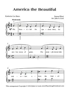 America the Beautiful: Free Sheet Music to celebrate July 4th. Sheet Music Pdf, Piano Sheet Music, Music Sheets, Piano Lessons, Music Lessons, Piano Songs, Music Songs, Organ Music, Christmas Sheet Music