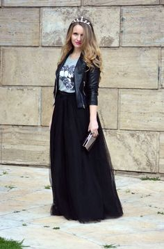 a90091944c5cf tulle skirt with casual t-shirt and a leather jacket to spruce it up.