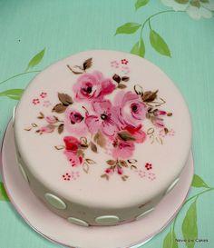 Painted Floral Cake, via Flickr.