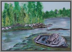 Acrylic on Canvas Boat with a story