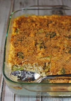 This hot and hearty Cheesy Chicken, Broccoli and Rice Casserole with homemade cheese sauce will satisfy your comfort food cravings for just 327 calories!