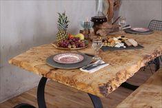 Mazel ağaç yemek masası uygulamamız. Poplar natural edge wood dining table.