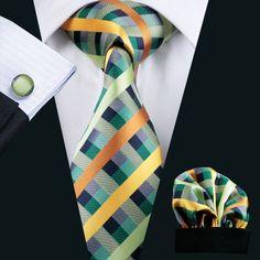 Wedding Tie Hanky Cuff links Set Greens Plaid Pattern Handmade Silk Ties for Men Business Party Necktie - Party Business Cufflink Set, Tie And Pocket Square, Pocket Squares, Wedding Ties, Tie Set, Well Dressed Men, Suit And Tie, Tie Knots, Plaid Pattern