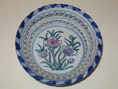 Three Serving Bowls Pierced Bowl Blue White Pink by designfinder