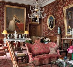 Joy de Rohan-Chabot accents her family's 15th Century Auvergne chateau with fanciful furnishings and whimsical murals without diminishing any of its historic character.
