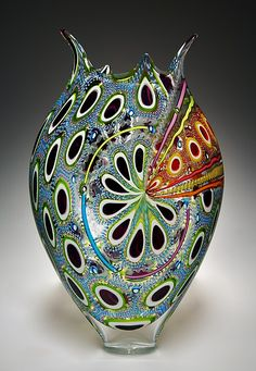 Purple, Lime, and Aqua Foglio by David Patchen: Art Glass Vessel available at www.artfulhome.com