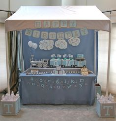 Alphabet Train Party: so darling!  PVC tent with ticking stripe awning, box supports used as beverage coolers
