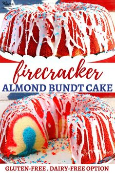 Celebrate the of July with this easy almond bundt cake! A layered red white and blue almond pound cake that is moist and covered with a sweet vanilla almond glaze. The recipe includes a dairy-free option. Best Gluten Free Recipes, Gluten Free Cakes, Gluten Free Baking, Gluten Free Desserts, Dessert Recipes, Gf Recipes, Healthy Desserts, Dessert Ideas, Cake Ideas