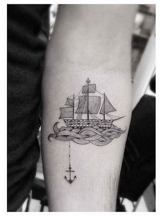 Tattoo | Anchor | waves | Boat