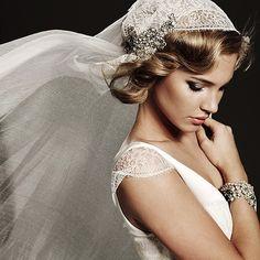 A girl with short hair can rock a cap veil like no one else. #hair #styling. Veil by Johanna Johnson