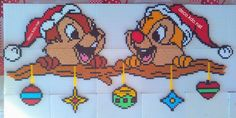 Chip & Dale - Christmas hama perler beads by Deco. Hama Beads Disney, Hama Disney, Perler Bead Templates, Pearler Bead Patterns, Perler Patterns, Christmas Perler Beads, Nerd Crafts, Hama Beads Design, Peler Beads