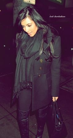 All Black outfit - love her coat