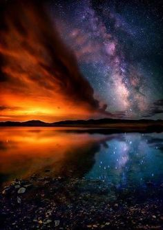 "The Milky Way at Sunset, reflected off ""The Eleven Mile Reservoir"" in Colorado! The Milky Way is the galaxy that contains our Solar System. All Nature, Science And Nature, Amazing Nature, Beautiful Sky, Beautiful World, Beautiful Places, Wonderful Places, To Infinity And Beyond, Milky Way"