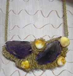 collana agata viola-e pietre gialle di sogni d'arte by adalgisa su DaWanda.com