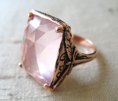 Rose Gold Over Pink Silver Dragonfly Ring by LuraJewelry on Etsy, $280.00
