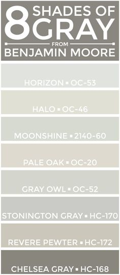 SEE THEM HERE: Horizon (OC-53) | Halo (OC-46) | Moonshine (2140-60) | Pale Oak (OC-20)Gray Owl (OC-52) | Stonington Gray (HC-170) | Revere Pewter (HC-172) | Chelsea Gray (HC-168) A few weeks back, I a