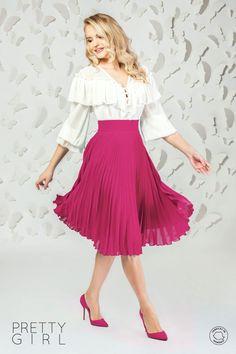 Fustă plisată midi fuchsia din voal Pretty Girls, Midi Skirt, Girl Fashion, Peplum, Spring Summer, Casual, Skirts, Womens Fashion, Women's Work Fashion