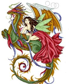 The Fairy The Dragon Cross Stitch Pattern Fantasy Enchantment Joan Elliott | eBay