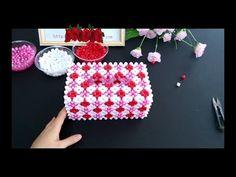 How to bead tissue box: Plum pattern tissue box 1/8 - YouTube