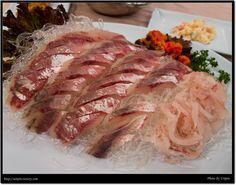 광어회, Korea Korean Food, Pork, Meat, Kale Stir Fry, Korean Cuisine, Pork Chops