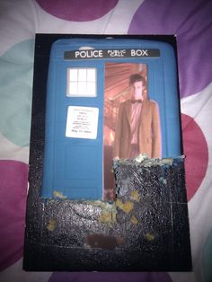 Linus' 7th bday cake ideas - edible photocopy of Dr Who image