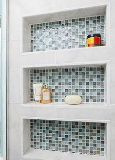 Built in Shower shelves Beach Bath - eclectic - bathroom - other metro - In Detail Interiors Bathroom Renos, Small Bathroom, Master Bathroom, Downstairs Bathroom, Shower Shelves, Bathroom Shelves, Bathroom Wall, Bathroom Storage, Recessed Shower Shelf
