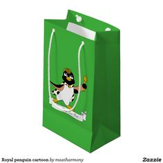 Royal penguin cartoon small gift bag