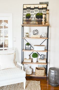 STEP BY STEP SHELF STYLING… HOW I DO IT!When I think of each shelf as a place to hold a few vignettes it makes styling the whole unit so much easier! I knew I wanted to highlight the pretty inlaid box on the top shelf so I began there. Home Living Room, Living Room Designs, Living Room Decor, Shelf Ideas For Living Room, Sconces Living Room, Step Shelves, Window Shelves, Table Shelves, Bookshelves In Living Room