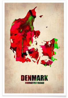 Denmark Watercolor Map as Premium Poster by Naxart | JUNIQE