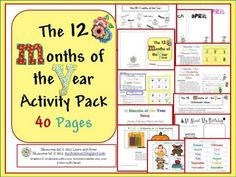 12 months of the year activity pack printable