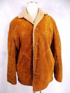 Vintage 60s Leather Sherpa Coat Sz M D Pocket Faux Towncraft Jacket Rockabilly