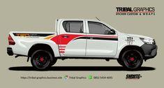 Sticker Mobil Sorong, Toyota Hilux Sticker Design.  TRIBAL GRAPHICS jln. Trikora,Transad,Aimas Kab.Sorong Papua Barat Call/SMS/WA (0852-5434-4693)  #TribalGraphics #CuttingSticker #3DCuttingSticker #Decals #Vinyls  #Stripping #StickerMobil #StickerMotor #StickerTruck #Wraps  #AcrilycSign #NeonBoxAcrilyc #ModifikasiMobil #ModifikasiMotor #StickerModifikasi  #Transad #Aimas #KabSorong #PapuaBarat Custom Wraps, Toyota Hilux, Sticker Design, Cutting Files, Silhouette, Stickers, Home, Autos, Silhouette Projects