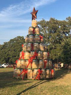 Whiskey Barrel Christmas Tree: Garrison Brothers Distillery, Hye, Texas, 2015