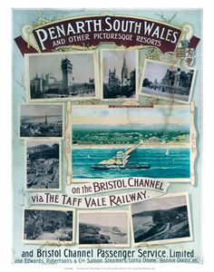 Penarth South Wales #Vintage #Rail #Poster #Print #Art #Vintage #Old #Classic #British #Britain #Wales #UK #Travel #Railway #Posters #Gifts www.vintagerailposters.co.uk