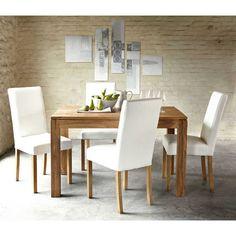 Mesa de comedor de madera de maciza de palo rosa An. Wooden Dining Table Designs, Wooden Dining Tables, Dining Chairs, Small House Furniture, Teak Furniture, Living Room Ideas Villa, Small Dining, Dining Set, Dinner Room