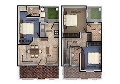 modelos y planos de casas 3 recamaras con baño en 2 pisos - Buscar con Google