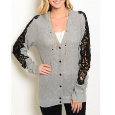 """✨LAST ONE✨Perfect Winter Cardigan Beautiful soft grey cardigan that has an open design going down both sleeves! Comfy, soft and buttons up the front! Size Small and brand new with tags! 30"""" in Length. 60% Viscose 22% Polyster 13% Nylon 5% angora. •No PayPal• No Trades•No Damages• Sweaters Cardigans"""