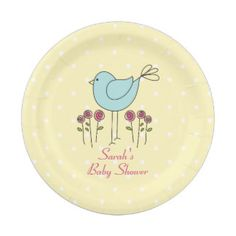 Cute Pastel Colour Bird Baby Shower Paper Plates 7 Inch Paper Plate