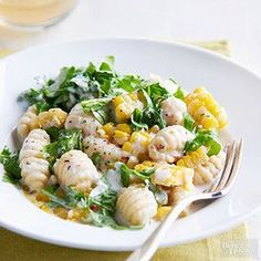 Gnocchi, Sweet Corn & Arugula in Cream Sauce Shelf-stable gnocchi is a great go-to ingredient for 30-minute meals. In this easy dinner recipe, it stars with two of summer's best fresh vegetables--sweet corn and arugula--for one bright and colorful dish.