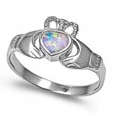 Irish Claddagh Heart Opal .925 Sterling Silver Ring