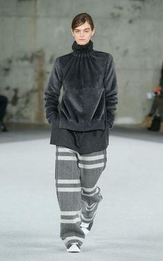 Fall 2014 | EDUN | Look 2 | Suede and Alpaca Sweatshirt, Voile Shirt, Herringbone Striped Pant, Adidas Original Customized by EDUN