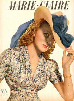 Marie Claire 1943 40s floral rayon dress hat color photo print ad model magazine blue white fashion