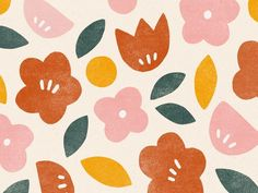 summer blooms designed by Minna So. Connect with them on Dribbble; the global community for designers and creative professionals. Flower Pattern Design, Surface Pattern Design, Flower Patterns, Print Patterns, Floral Pattern Print, Patten Design, Flower Pattern Drawing, Vintage Pattern Design, Pattern Painting