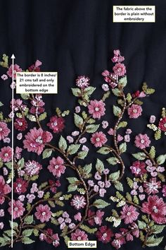 Haute Couture Fabric Hand beaded bloom of mulberry colored image 3 Embroidery On Kurtis, Hand Embroidery Dress, Kurti Embroidery Design, Bead Embroidery Patterns, Couture Embroidery, Embroidery Suits, Embroidery Fabric, Embroidery Fashion, Hand Embroidery Designs