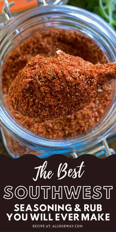 This homemade southwest seasoning and rub mix recipe takes just minutes to mix together and has so much flavor! Use for pork, beef, wild game, chicken, turkey, fish, and veggies. It has a pleasant smoky flavor from the paprika and chipotle powder. If you're shy about spicy foods you can control the heat. We've use this on our Thanksgiving turkey, baby back ribs, beer can chicken, grilled vegetables, tacos, and even Mexican pizza. The sky is the limit here. Spice Blends, Spice Mixes, Spicy Recipes, Easy Recipes, Amazing Recipes, Dinner Recipes, Savory Sauce Recipe, Southwest Seasoning, Grilled Vegetables