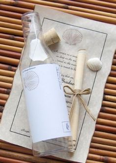 Message In A Bottle invitations you can send in the mail, postage right on the bottle!