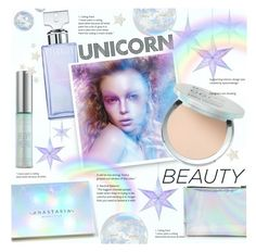 """""""Unicorn Beauty"""" by alexandrazeres ❤ liked on Polyvore featuring beauty, Talking Tables, Calvin Klein, Forever 21, It Cosmetics, Urban Decay, Beauty, holographic, unicorn and iridescent"""